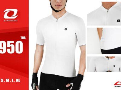 เสื้อจักรยานผู้ชาย สีขาว